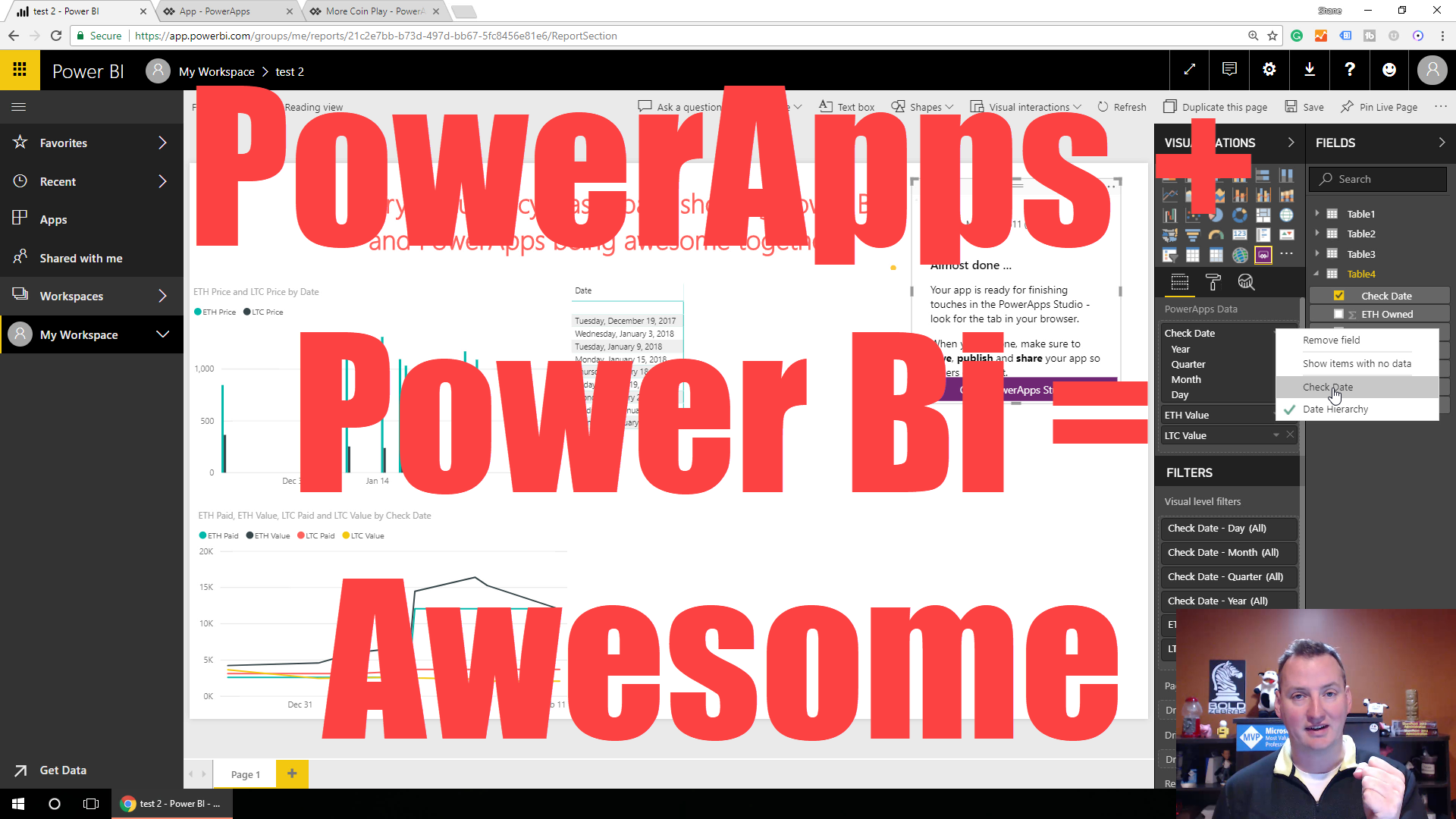 Create your first PowerApps visual in Power BI