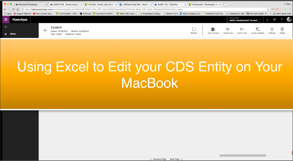 Connecting to your CDS (Common Data Service) Entity with Excel on your MacBook