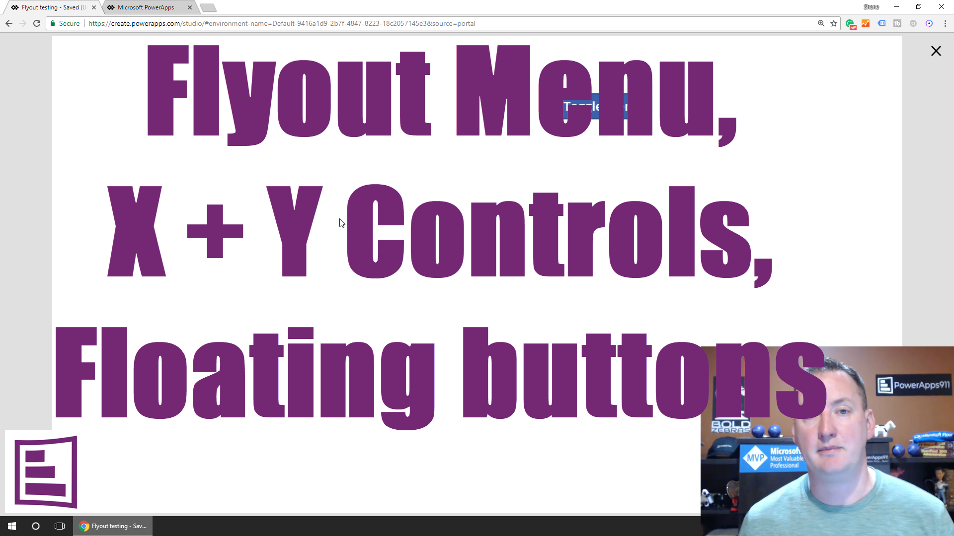 PowerApps fly-out menus,floating buttons, and the X Y controls