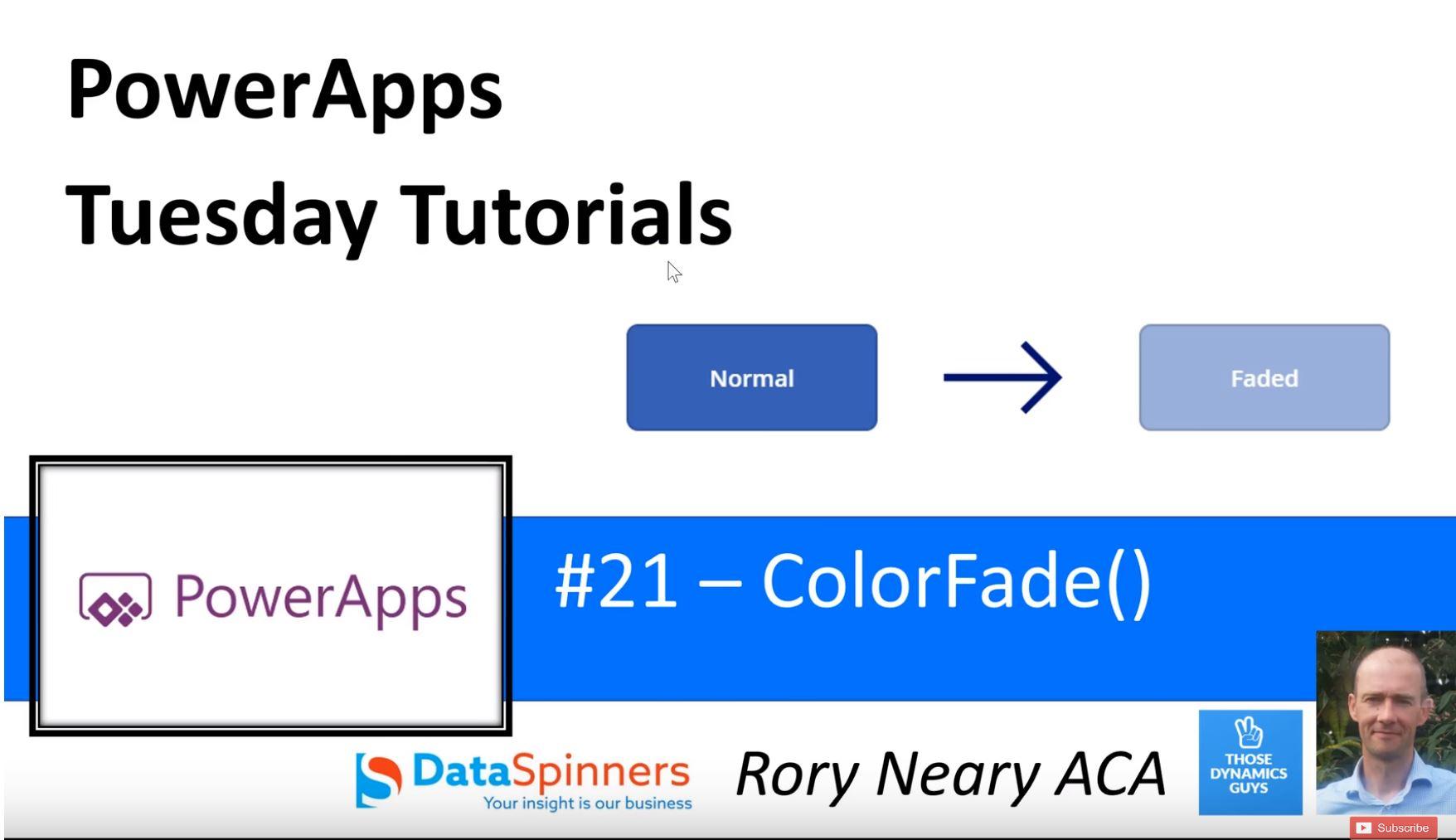 PowerApps Tuesday Tutorials #21 ColorFade