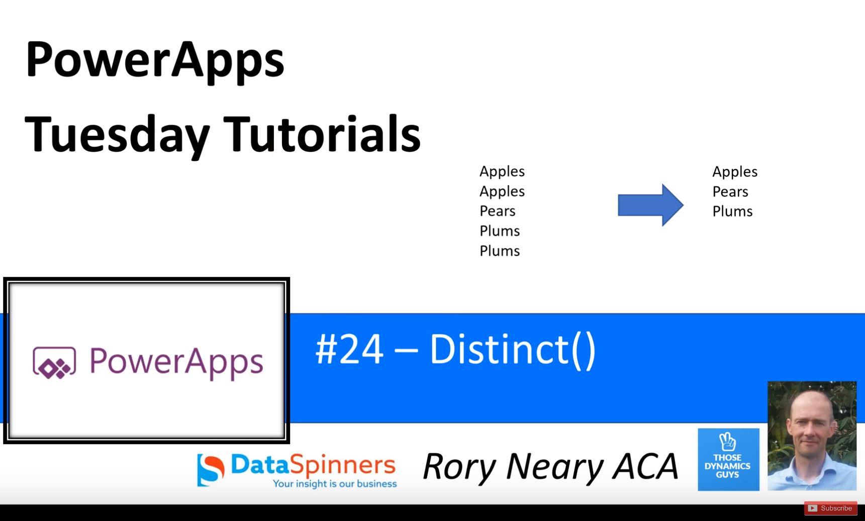 PowerApps Tuesday Tutorials #24 Distinct