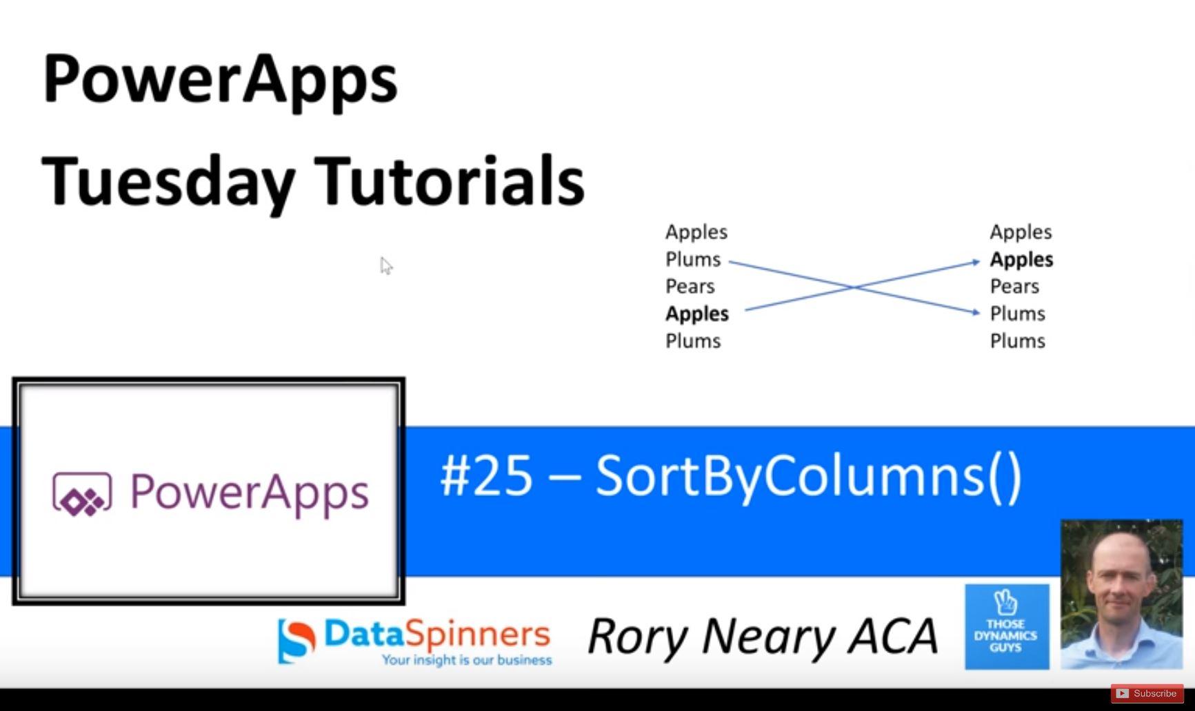 PowerApps Tuesday Tutorials #25 SortByColumns