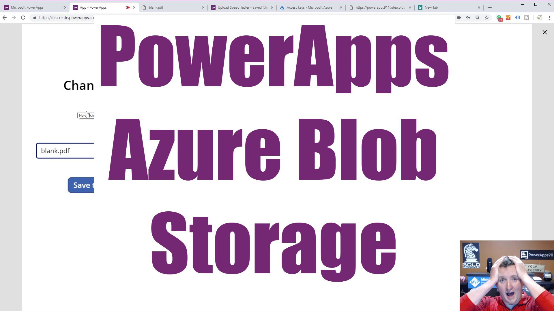 Save files to Azure Blob Storage from PowerApps add picture or camera control