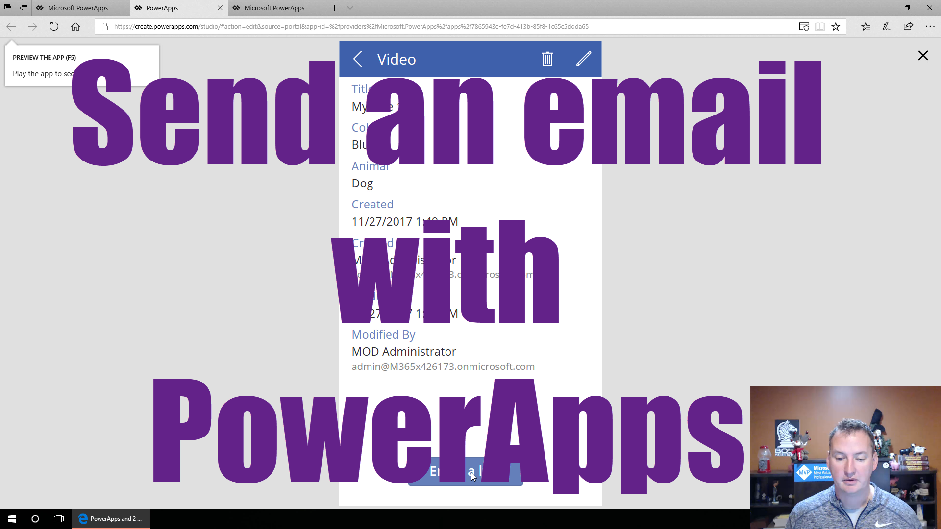 Send an email from PowerApps