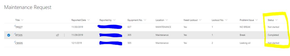Sharepoint List - Column name is Status and Column Type is Choice.PNG
