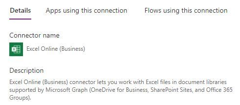 Excel Online (Business) connector