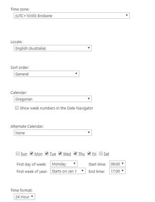 SharePoint Regional settings Page