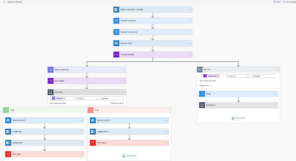 This is how my flow currently looks with one form, one calendar