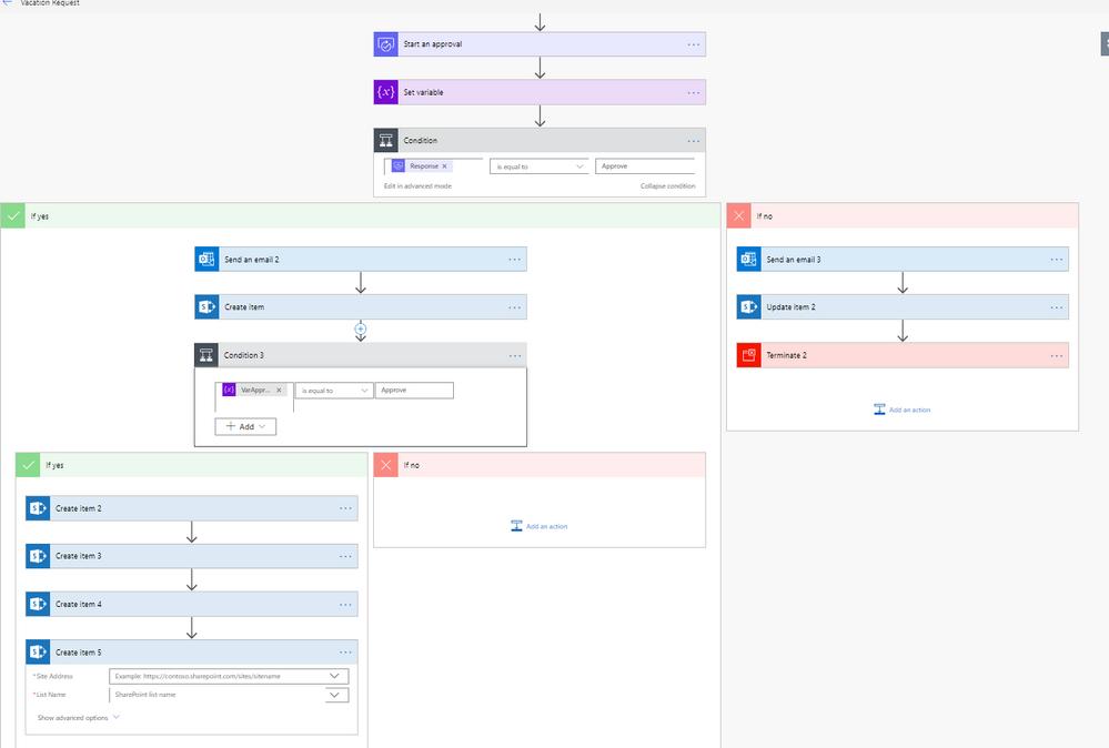4 create items one for each area and the main calendar create item