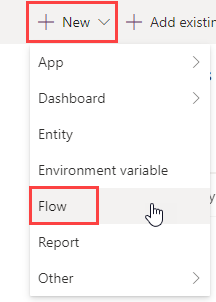 Create new Power Automate flow within solution