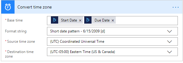 Converted Time Action Config