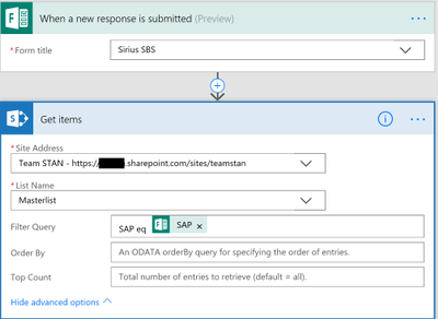 Sirius SBS form should populate the SBS Sharepoint List. But I need it to check if SAP exists in the Masterlist table.