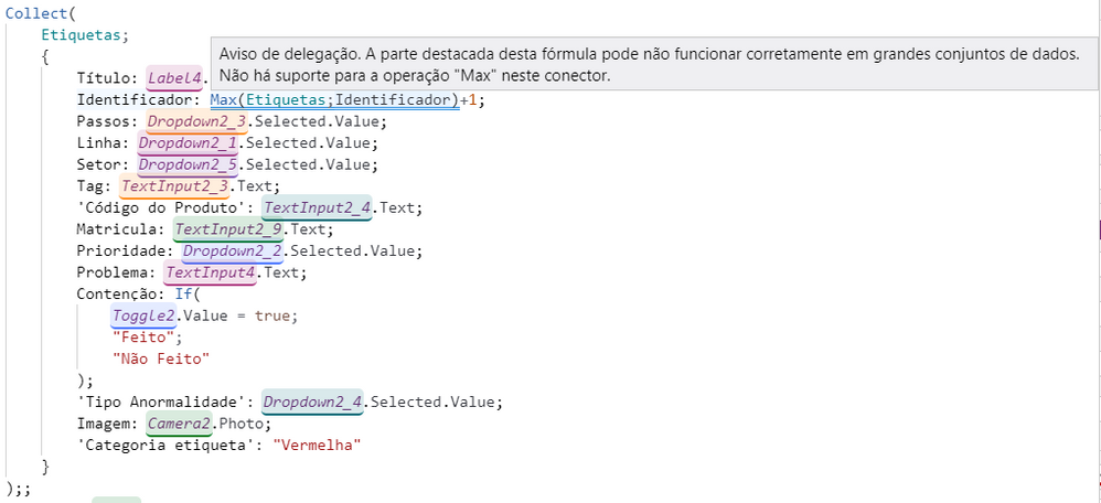 My PowerApps is in Portuguese, but the error is what I mentioned above.