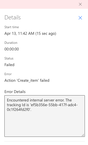 Looks like the tracking Id that the Kaizala trigger is passing to the Sharepoint Action is not the correct one. I don't know where this Id comes from.