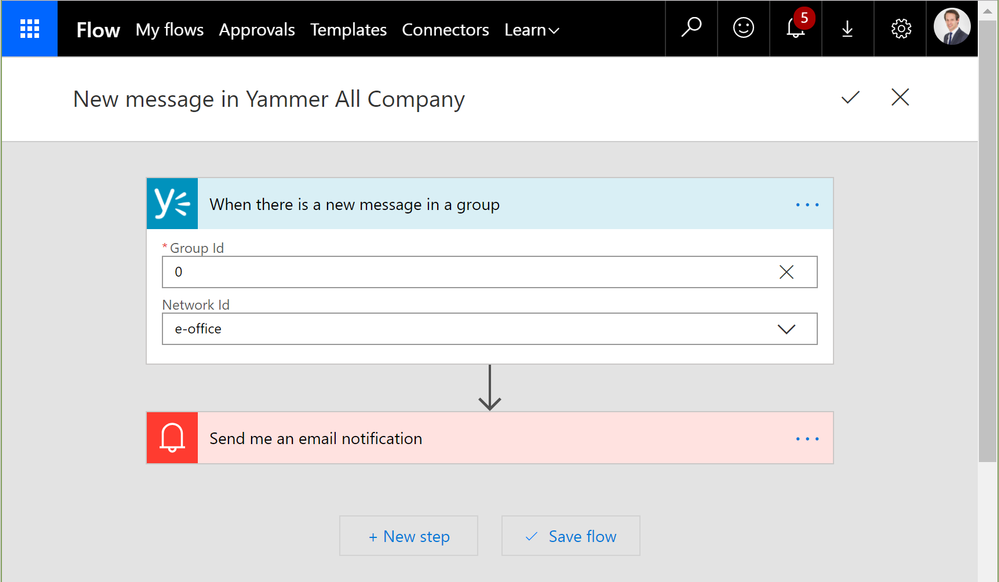 Flow new message in Yammer All Company feed-1-setup.png
