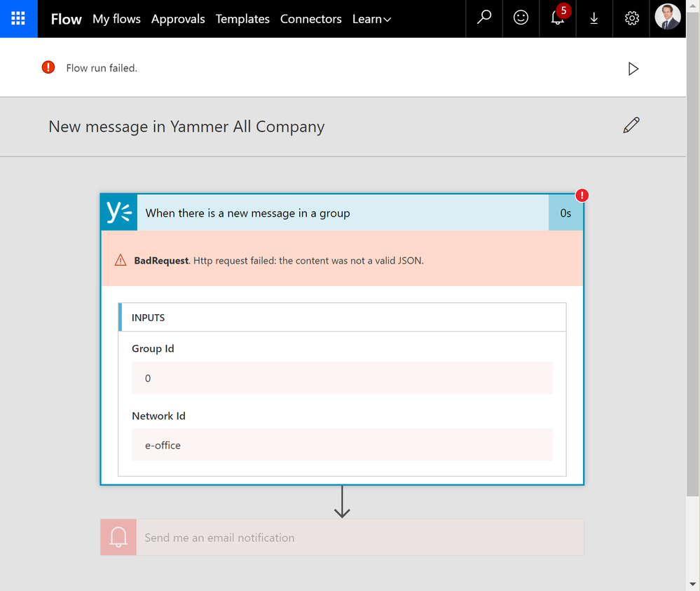 Flow new message in Yammer All Company feed-2-error.png