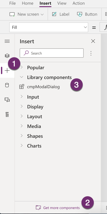 Add component to Canvas App
