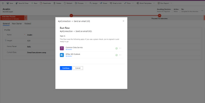 After selecting from the Flow menu this dialog is shown