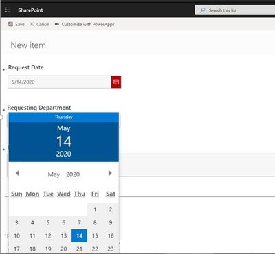 Showing the form opening on the left side of the screen, and the date picker showing partially off the screen