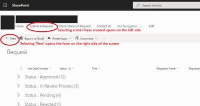 Showing my sharepoint site with the two methods for opening the form