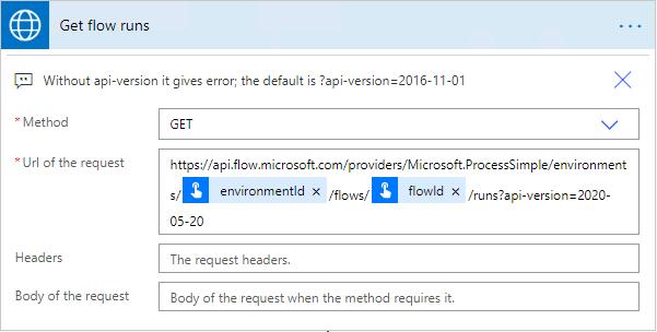 Request action for flow-runs