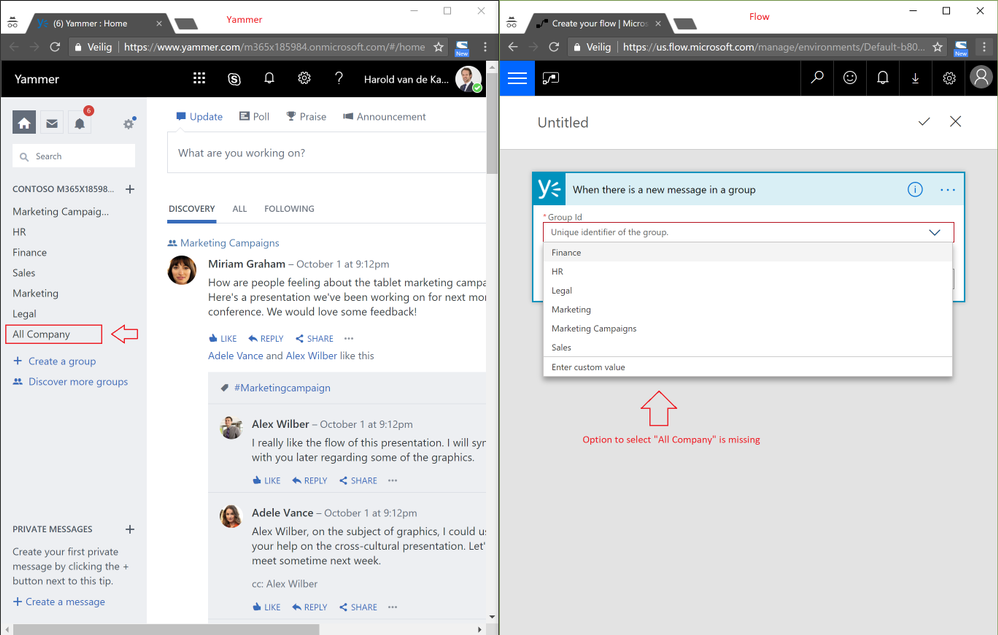 Option to select All Company Yammer Group missing in Flow trigger