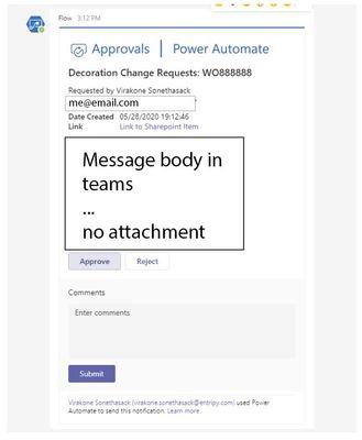 Teams - Adaptive Card no attachment