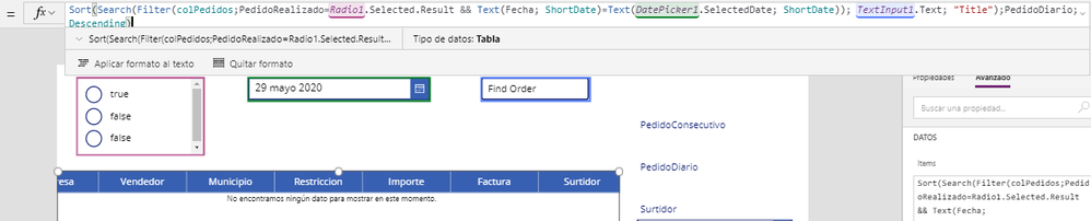 "Sort(Search(Filter(colPedidos;PedidoRealizado=Radio1.Selected.Result && Text(Fecha; ShortDate)=Text(DatePicker1.SelectedDate; ShortDate)); TextInput1.Text; ""Title"");PedidoDiario;Descending)"