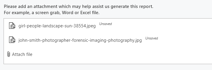 Uploading 2 images as attachments