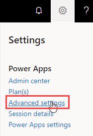 Power Apps Maker Site - Advanced Settings