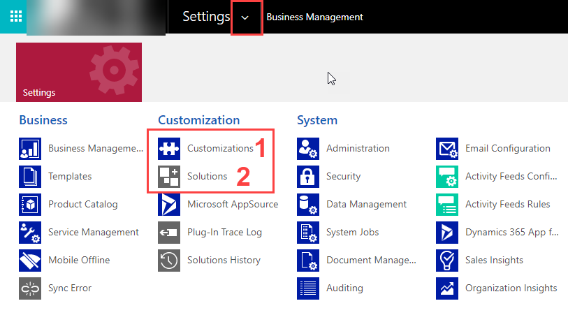 Dynamics 365 - Accessing the classic settings area