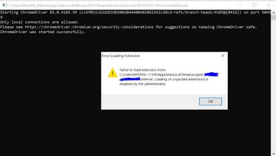 Screenshot of webdriver issue