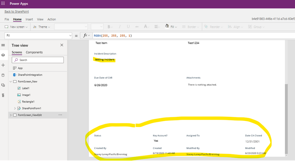 Complaint Form - View Form from PowerApps.png