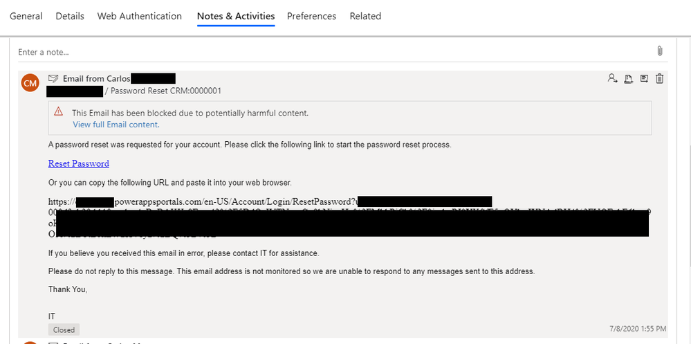 Contact Notes, all reset password mail