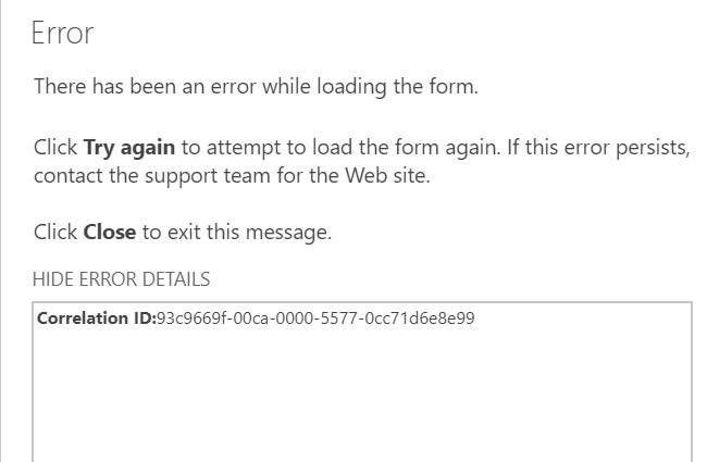 Error Message SharePoint list item not opening.jpg