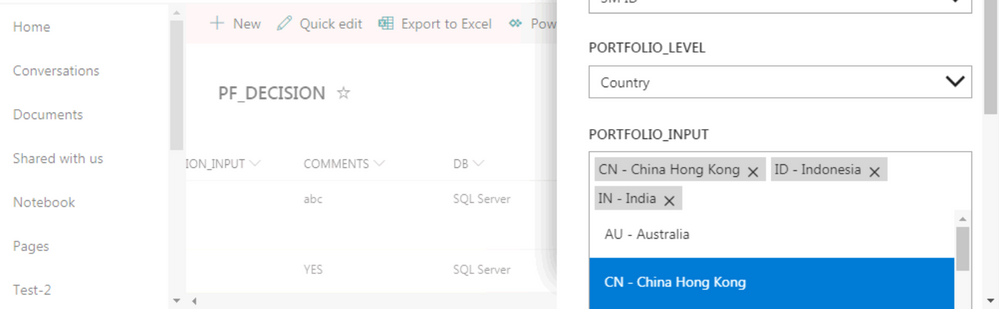Sharepoint Userform with Multiselect