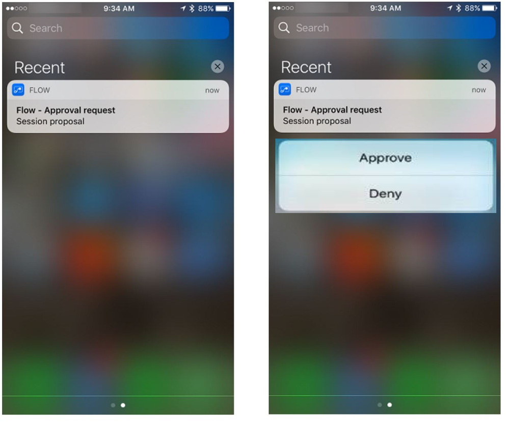 Approve or Deny a Microsoft Flow Approval Request on iPhone using Force Touch
