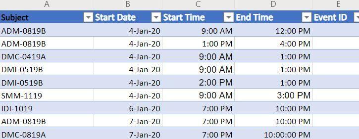 Excel schedule list