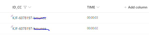 time collected from TIMERS in the app
