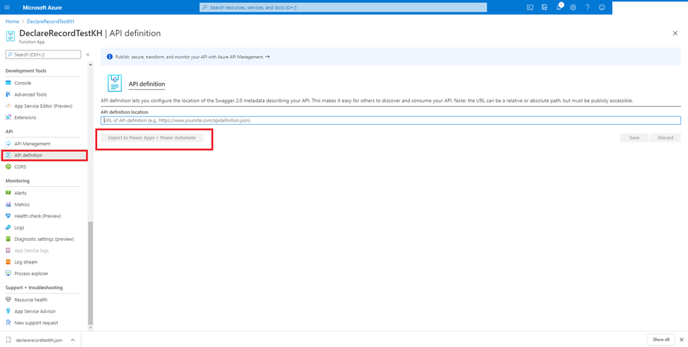 Azure function export to Power Automate button greyed out.png