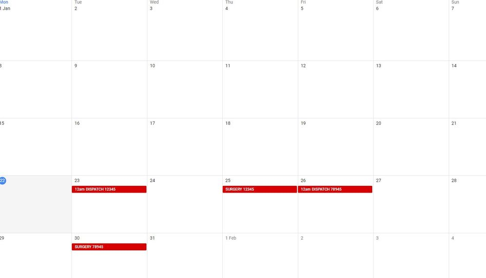 When I add an event containing SURGERY, it creates a Dispatch date a set number of days before