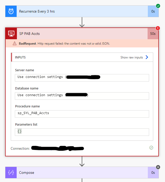JSON error returned