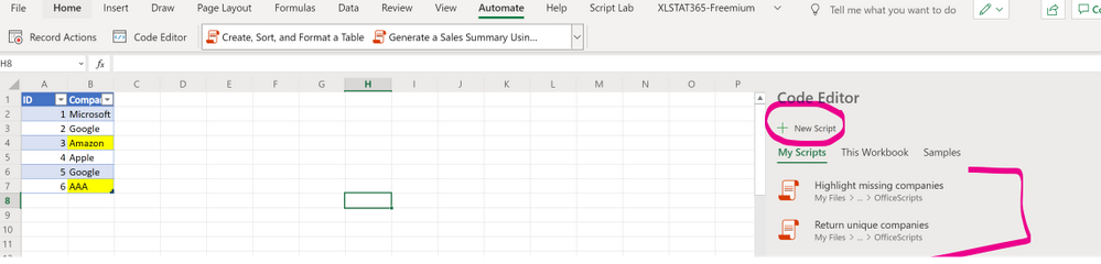 Excel for web - create scripts