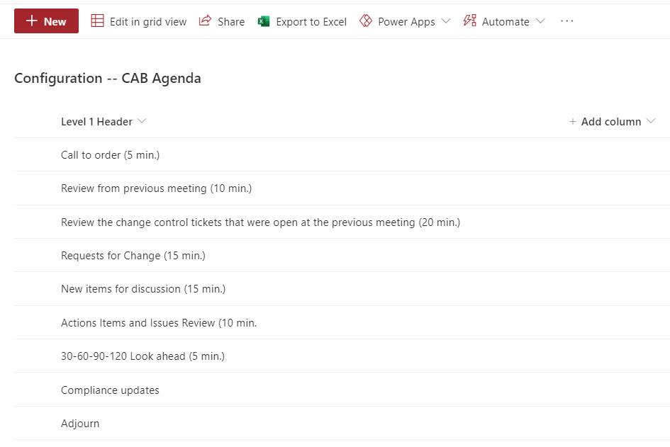 SharePoint List With One Column of 9 Items