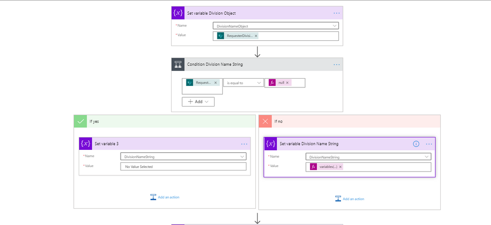 set variables for Null values in Sharepoint list