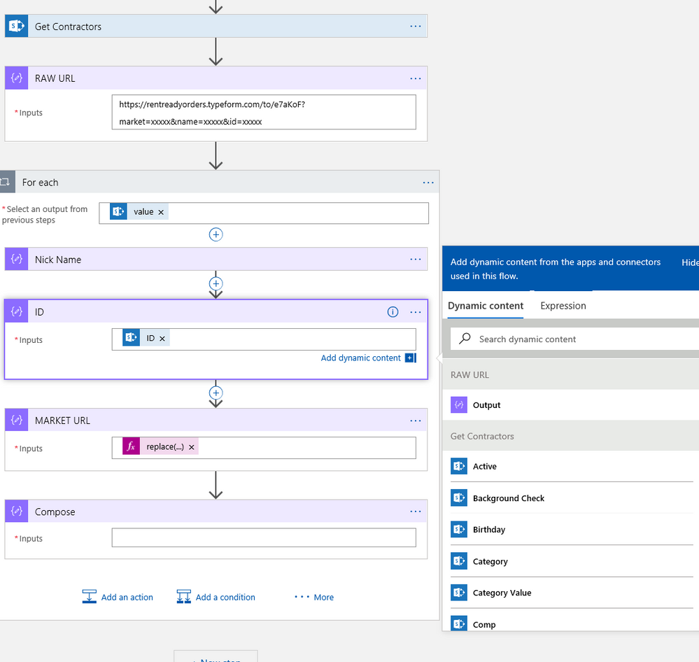 Dynamic values from SharePoint List Get Items action appearing in a generic compose action