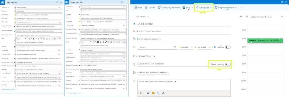 Color-coded differences of options between power-automate flows and OWA outlook calendar