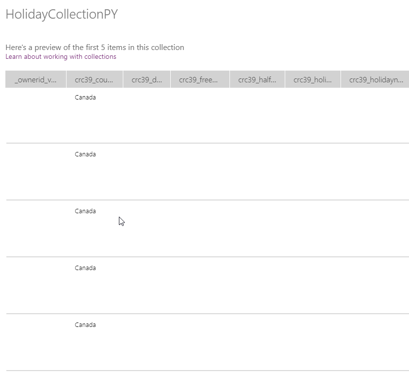 HolidayCollection from dataverse table