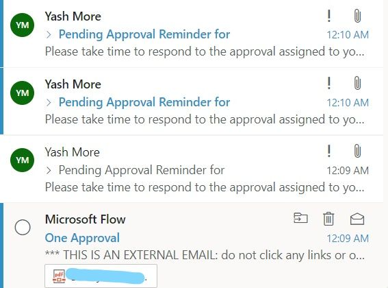 Separate reminder and first approval email.