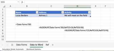 Data in Excel for Word